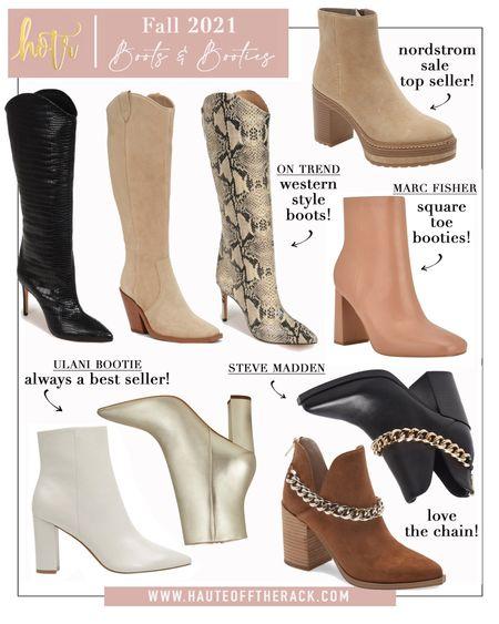 Fall 2021 boots & bootie picks! #boots #westernboots #booties #marcfisher #stevemadden  #squaretoebooties #tothekneeboots #snakeskinboots #chunkyboots #chainbooties #whitebooties #goldbooties #blackboots #fallfashion #fallboots #fallbooties #falloutfit   #LTKshoecrush #LTKGiftGuide #LTKstyletip