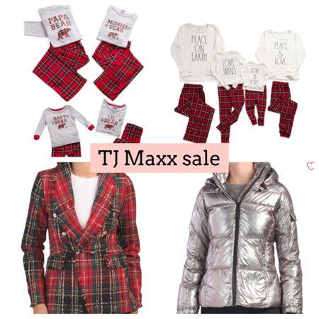 Tj Maxx sale. Holiday pajamas. Family pajamas. Coat. Blazer   #LTKSeasonal #LTKsalealert #LTKHoliday