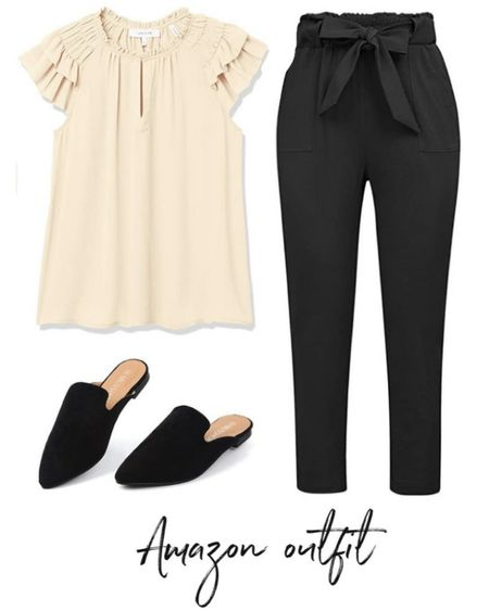 Want a cute work outfit that you'll actually look forward to wearing? THIS IS IT! These pants are comfortable and flattering and this top is so pretty and can be easily be layered with a jacket (and looks cute with jeans too!) #LTKunder50 #LTKworkwear #LTKstyletip   http://liketk.it/3oeUj @liketoknow.it #liketkit