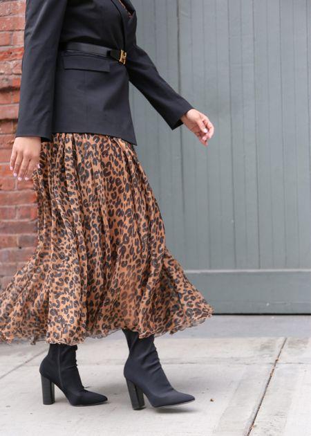 Fall fashion, leopard maxi dress, black sock booties  #LTKworkwear #LTKshoecrush #LTKSeasonal