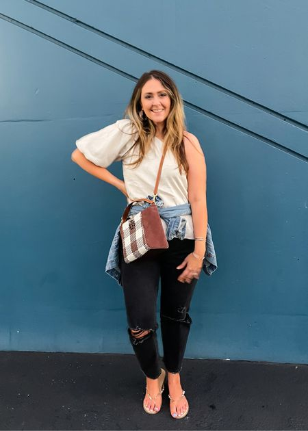 90s trends to wear this fall: straight jeans and one shoulder tops. My top comes in 3 colors and fits slightly big—size down for a more TTS fit. My black straight jeans come in both normal and curvy sizing. Get the curvy if you are wider in the thighs. I'm curvy, but am more hip-y, so I prefer the regular fit. Fits TTS.  Also, my favorite Jean jacket is on sale under $30! Fits a little small.   Red Dress // Abercrombie jeans // affordable // budget  #LTKSeasonal #LTKstyletip #LTKSale