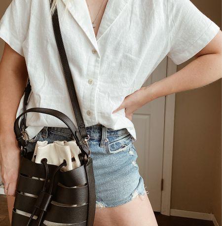 Summer linen and denim shorts - Target finds and Abercrombie shorts, vacation outfit, beach bag, beach vacation   #LTKsalealert #LTKstyletip #LTKSeasonal