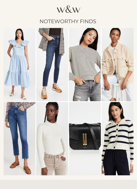 Noteworthy finds this week!  Pretty tiered summer dress  High waisted jeans  Striped tops  Layering tops  Cropped jeans  Chic bag  Teddy coat  Striped cardigan   #LTKSeasonal