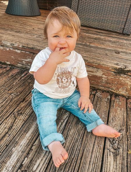 I love seeing little babies in jeans😍 I sized up for him and they fit great! Also have an elastic waist band. His tee is from @milenaciciotti merch   #LTKkids #LTKbaby