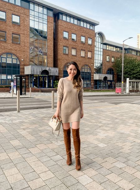 Sweater dress season is here 😍🍁🍂  Love this sweater dress - cashmere and oh so soft 😍 I took an XS. Paired with my Stuart Weitzman over the knee boots and my new Gucci Diana mini! ❤️  #gift/ad
