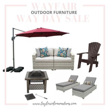 #LTKSaleAlert Wayfair outdoor furniture for Way Day Sale. Fire pit. Umbrella. Adirondack chairs. #LTKhome  http://liketk.it/3e1Lq #liketkit @liketoknow.it