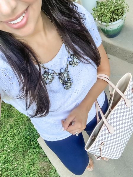 """#FlashbackFriday with this easy, transitional work look!  All outfit details are linked but I have to highlight the """"Winnie"""" pant because I wore them weekly when I was working in-office. They come in petite and regular length, and are always on sale! Currently around $35 and available in black and navy.     #LTKworkwear #LTKbacktoschool #LTKcurves"""
