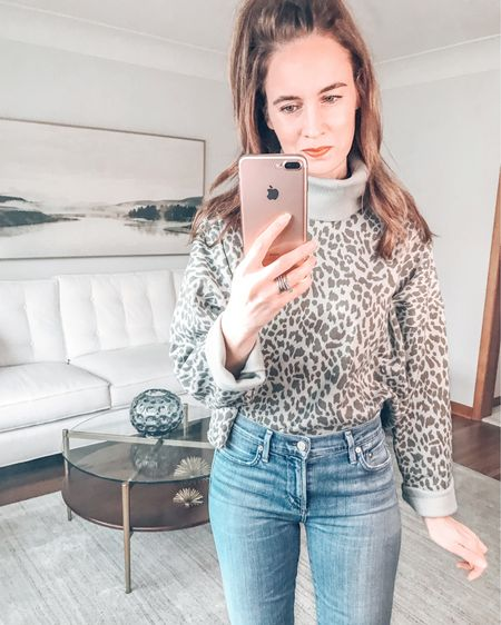 Hope you are having a great weekend!  I am trying on this green leopard turtleneck sweatshirt.  I love the green color.  As far as fit, it is definitely a boxy fit - and I would say it runs a little large.  . . SHOP MY LOOK: 1️⃣ Use this link: http://liketk.it/364dA  2️⃣ Download and follow me (@dailystylefinds) on the FREE @liketoknow.it app 3️⃣ Screenshot this photo 4️⃣ Click the link in my profile . . #styleover40 #fashionmoment #mystylediary #fashiondaily #stylebyme #stylefiles #over40blogger #styletrends #whatstrending #whatiworetoday #whowhatwearing #styleadvice #leopard #getthelook #ontrend #styleinfluencer #nike #everydaystyle #todaysoutfit #americaneagle #AExME #AerieREAL #liketkit