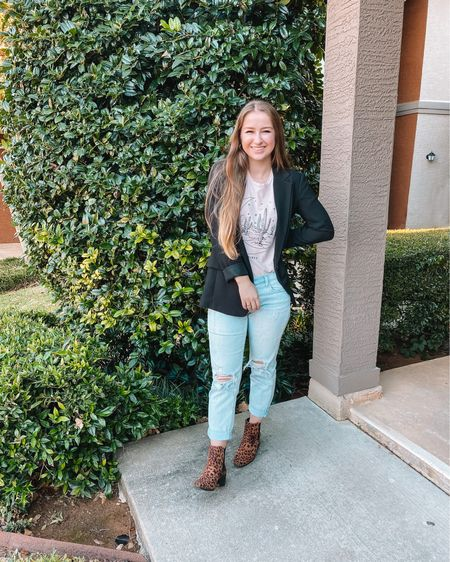 H&M black blazer I linked some graphic tees that would be cute with this outfit! The shirt I'm wearing is an old Roolee one!  Old Navy boyfriend jeans Black Target Chelsea boots- fit true to size and 30% off!  http://liketk.it/31YVI #liketkit @liketoknow.it #LTKshoecrush #LTKunder50 #LTKsalealert