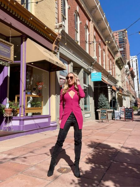 Loving the bright knit sets for Fall fashion this year. This coord set is a shrug set (tank & shrug) in the prettiest shade of fuchsia. I've been styling it with black skinny jeans & leggings as a Fall outfit. Black suede over the knee boots, gold hoop earrings & Jimmy Choo sunglasses on repeat. PS shrug sets are perfect for transitional Fall-Winter outfits as if you get too hot take the shrug off, too cold put it on.   #LTKshoecrush #LTKSeasonal #LTKstyletip