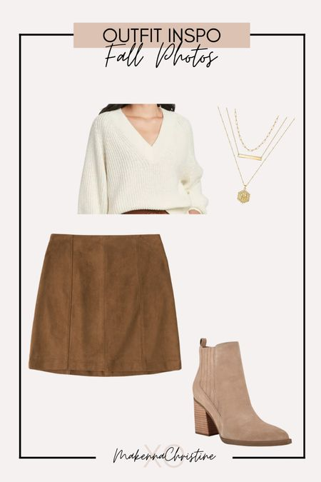Fall family photos outfit! Fall outfit ideas! Suede skirt for fall!