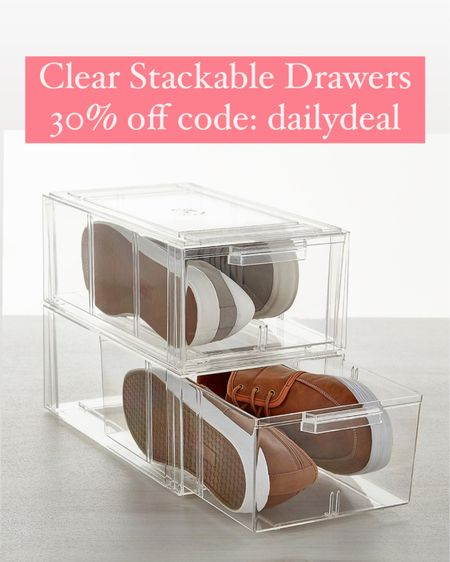 Deal of the day! Clear stackable drawers are 30% off with code: dailydeal - I used the smaller size to orangize under my kitchen sink (see my ig) but these would work too! Also great for organizing closets, bathroom, toys, etc @liketoknow.it #liketkit http://liketk.it/3hSzs storage ideas, organization, kitchen organization, closet organizer, linen closet, laundry, bathroom, home decor clear drawers
