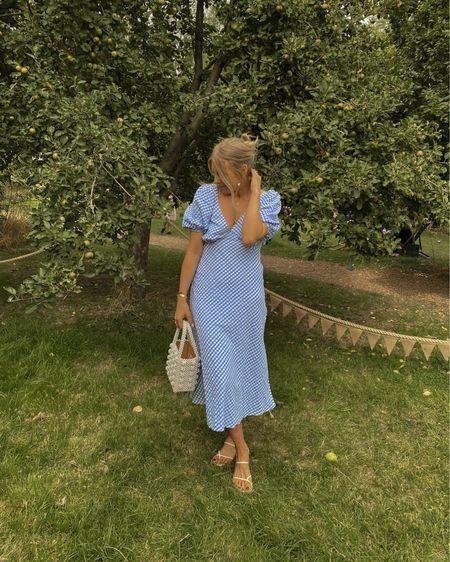 Blue dress, blue gingham dress, wedding guest outfit, midi dress; summer dress , Pearl bag @liketoknow.it #liketkit http://liketk.it/3mJrZ #LTKeurope #LTKwedding #LTKunder50