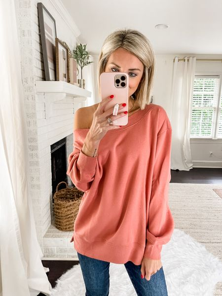 Loving this Abercrombie off-the-shoulder sweatshirt!   #LTKstyletip