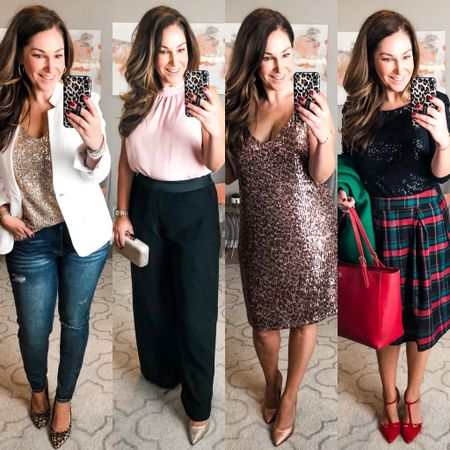 It's HERE 🎄🎉 Gibson Look x Hi Sugarplum Holiday Collection!! On the blog 👉🏻therecruitermom.com I have put together 4 outfits that will get you through the holiday season from FESTIVE CASUAL, FANCY DINNER, TRADITIONAL HOLIDAY and GLITTER & GLAM! No matter what is on your agenda I got ya covered!  I am 5'5 and a size 10/12 so I have included all my sizing recommendations for this collection on the blog. Many pieces have varied since previous collections so make sure to check it out! . . . .  http://liketk.it/2G4SP   #liketkit @liketoknow.it #LTKcurves  #LTKshoecrush  #ltkholidayathome  #ltkholiday #plaidskirt #christmasplaid #christmasoutfit #holidayphotooutfit   #nutcrackeroutfit  #holidayoutfits #winter2019 #holiday2019outfit #redshoes #redpumps #sequindress #whiteblazer #widelegpants #redtstrappump #gibsonlook #gibsonxhisugarplum #gibsonxholiday