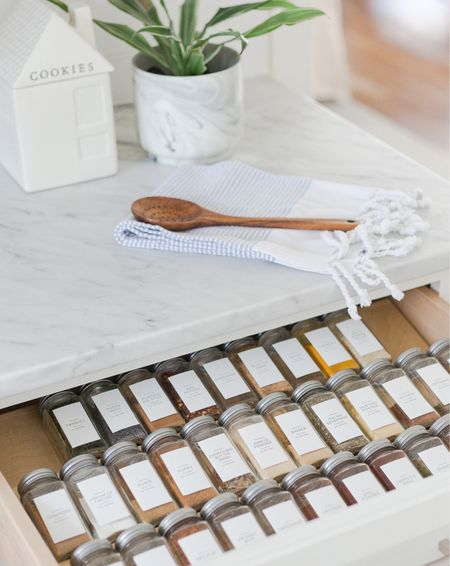 Easily organize your spice drawer with these jars and pretty labels.   Amazon finds, Etsy, kitchen, organization, target finds  #LTKhome #StayHomeWithLTK #LTKstyletip