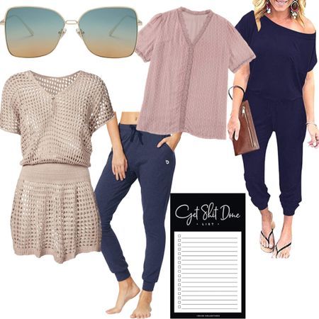 Current audience favorites from Amazon. The sunglasses come in a few color options (I also have them in pink). Love the swimsuit coverup-it's a summer essential. The lace blouse is easy to dress up or dress down-have it in a size small. Size up one on the jumpsuit! #amazonfinds #founditonamazon #fashionover40   #LTKstyletip #LTKswim #LTKunder50