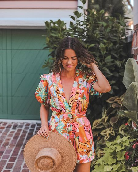 Holding onto summer as long as possible in this festive, bright printed romper — wearing a small   #LTKstyletip #LTKtravel