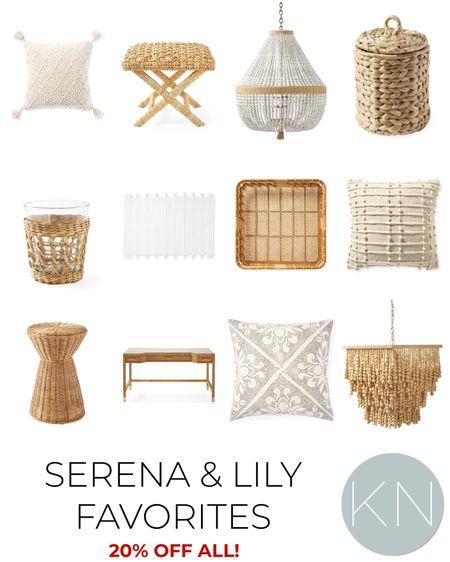 All* Serena & Lily 20% off with code NEWSEASON. Home decor coastal decor bead chandelier neutral pillow rattan decor x bench rattan desk bath mat woven tray  #LTKhome #LTKsalealert
