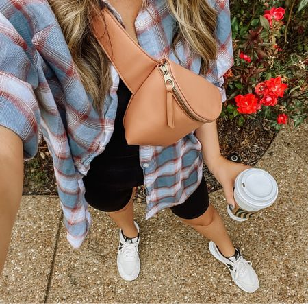 """Got out of the house for a quick errand, and I totally feel refreshed and """"normal"""" after last week's hospital stay. I picked the comfiest #fall outfit + a #pumpkinspicelatte to get me out the door and ready for the day. A flannel and biker shorts might just be my pre-fall uniform. Can't forget this belt bag either. Such a good Target find!   #LTKSeasonal"""