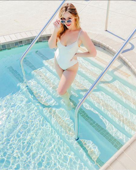 White swimsuit 🤍🐠 http://liketk.it/3kqQi #liketkit @liketoknow.it #LTKunder50 #LTKswim