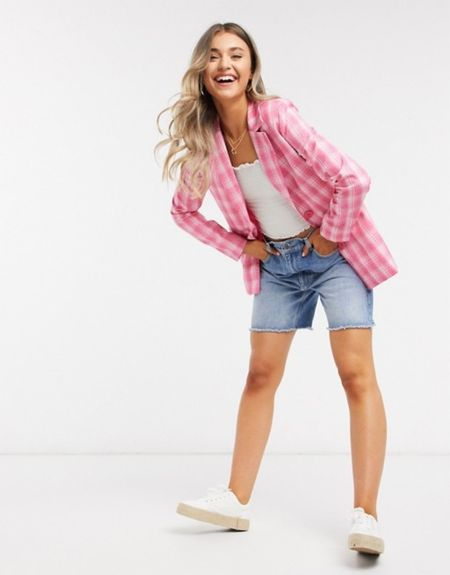 Cutest pink plaid blazer is a must for a pop of colour during the darker, longer fall days!!   #LTKFall #LTKstyletip #LTKunder100