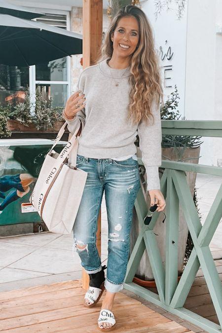 Workwear, sandals, grey sweater, cashmere sweater, jeans, tote, Chloe   #LTKitbag #LTKstyletip #LTKworkwear