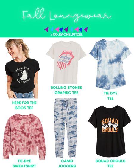 Fall loungewear favorites! All are affordable and from Old Navy!💕  Fall loungewear | fall fashion | fall tees | tie dye sweatshirt | Halloween tees | Rachel Pitzel | #fall #ltkfall #fallfashion #halloween #rachelpitzel #xorachelpitzel #loungewear #oldnavy #StayHomeWithLTK #ltksaleert #LTKunder100 #LTKunder50 @liketoknow.it #liketkit http://liketk.it/2Vnrr