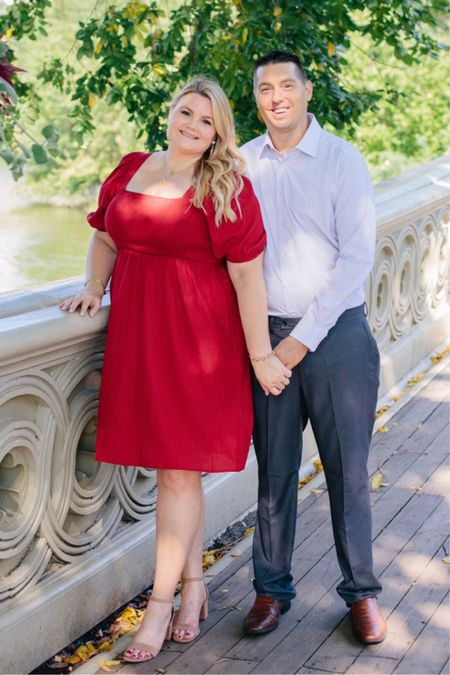 What I wore to our engagement photo shoot! Red dress- wearing the 0X. I also linked Chris' shirt and pants    #LTKunder50 #LTKmens #LTKcurves