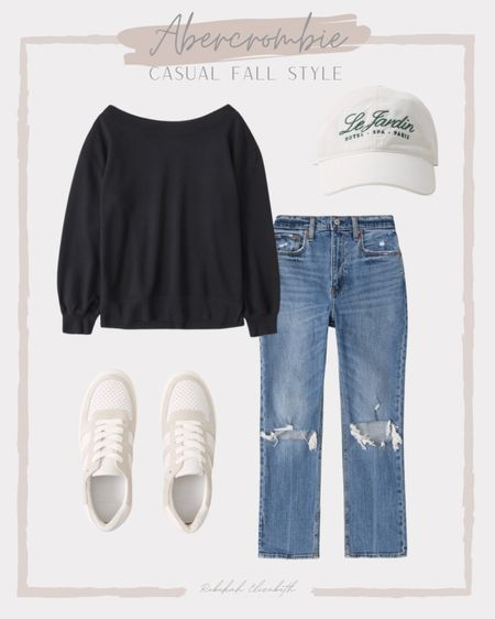 Abercrombie outfit inspo from last week on sale!! Ends today! Casual fall style outfit | curve love ultra high rise jeans • off the shoulder sweatshirt • embroidered baseball cap • white court sneakers | #rebekahelizstyle   #LTKcurves #LTKsalealert #LTKSale