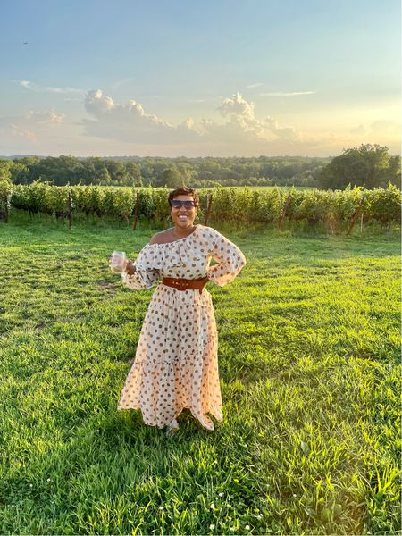 The perfect polka dot maxi dress brown suede belt wide cat eye sunglasses #mango #summerdress #weddingguest   #LTKSeasonal #LTKunder100 #LTKsalealert