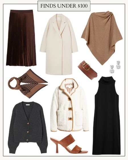 Affordable Fall Fashion, Fall Clothes  Affordable fall finds from H&M, Nordstrom, Matches Fashion, and more. My favorites are the mock neck dress and the pleated skirt! Both are perfect for the office, the weekend, and even Thanksgiving Dinner.  #cheapfalloutfits #falloutfitscheap #affordablefallfashion #fallclothes