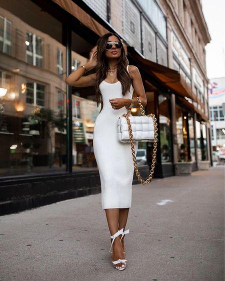 Abercrombie white knit dress wearing an XXS Bottega Veneta The Chain Cassette bag Alexandre Birman white heels  Bottega Veneta Sunglasses   #LTKstyletip #LTKunder100 #LTKworkwear