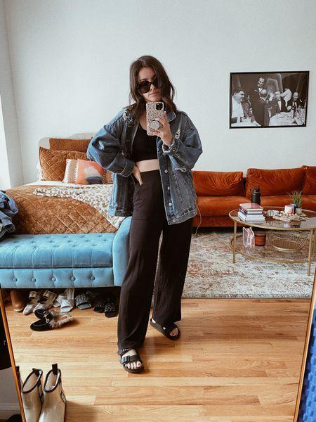 Wide leg Sweats Cozy Comfortable outfit Denim jacket Fall outfit Seasonal outfit   #LTKSeasonal #LTKstyletip #LTKunder100