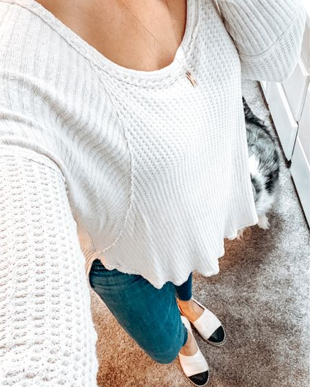 Casual weekday mom style + doggy photo bomb  Free people too, madewell jeans, Chanel espadrilles, personalized minimal tag necklace  #StayHomeWithLTK #LTKspring #LTKshoecrush #liketkit @liketoknow.it Shop your screenshot of this pic with the LIKEtoKNOW.it shopping app http://liketk.it/2Pd3j