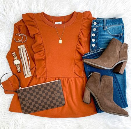 Happy Tuesday! We found the perfect fall top that's under $30! It so soft and comes in pink as well. ☺️ These brown booties are 50% off too and come in additional colors. And y'all know how much we love this initial necklace! 🛍 Shop it all via the LTK app or head to our blog and click the Shop Our IG tab. We hope y'all have a great day! 🥰  #LTKshoecrush #LTKstyletip #LTKitbag