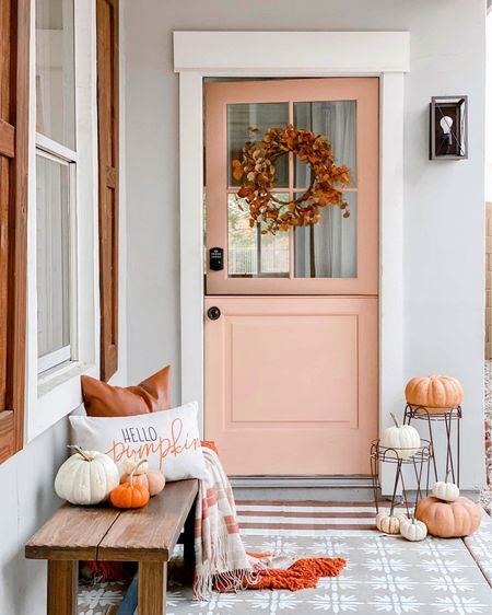 Fall porch!🍂 Get this look with easy-to-style finds from Amazon and use the cute planters, gorgeous wood + metal  bench, faux leather pillow and rug for more than just one season!  #LTKHoliday #LTKSeasonal #LTKhome