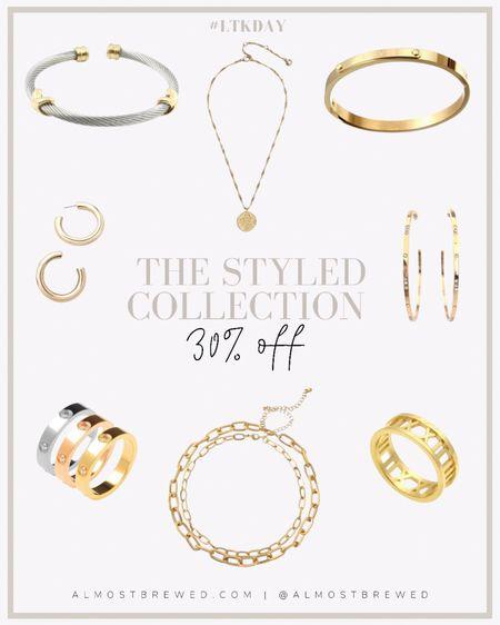The Styled Collection on sale. Cartier & David Truman dupe, Designer Inspired. Casablanca hoops, Monroe hoops, eternity bracelet, love, Roman ring, eternity ring, Renaissance coin lariat necklace  #LTKDay #LTKsalealert #LTKunder50