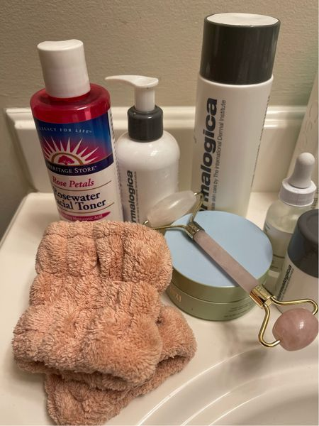 Today's #selfcaresunday routine. No drip cuffs from @shoplabeautyologist __ Skincare routine Oily skin Cleanser Toner Serum Eye mask   #LTKunder100 #LTKbeauty