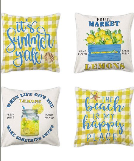 Summer pillows from Amazon. On sale!      Amazon home decor, pillows, summer decor, outdoor decor, summertime, yellow and blue pillows   #LTKsalealert #LTKhome #LTKSeasonal
