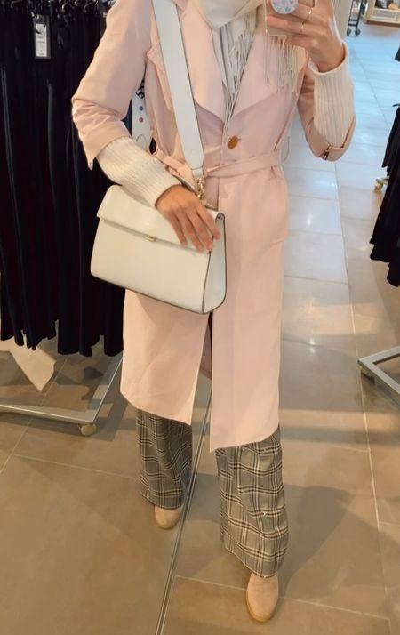 Trench coat weather!  Pink trench coat - pink duster coat - tan trench coat - high street trench    #LTKSeasonal #LTKunder50 #LTKworkwear