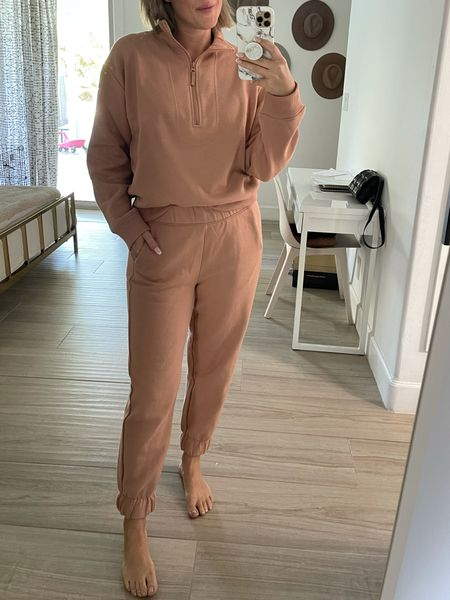 The coziest fall sweatsuit! Runs generous, size down if you are inbetween. I'm wearing a S. #targetfinds #targetstyle #target #anewday #sweats #sweatsuit #loungewear #fallstyle     #LTKunder50
