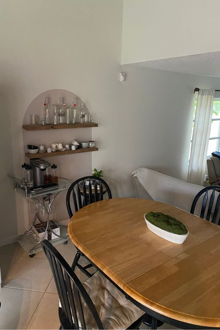 So excited with my arch decal set up! I utilized unused glassware and mugs in my kitchen I barely use to display! Bought some shelves from Amazon as well as additional accent table from Target! Shop everything below! #target #accenttable #blackaccenttable #archdecal #floatingshelves #glassware #glassbottles #coffeemugs @liketoknow.it.home #LTKstyletip #LTKhome You can instantly shop my looks by following me on the LIKEtoKNOW.it shopping app http://liketk.it/3izNX #liketkit @liketoknow.it