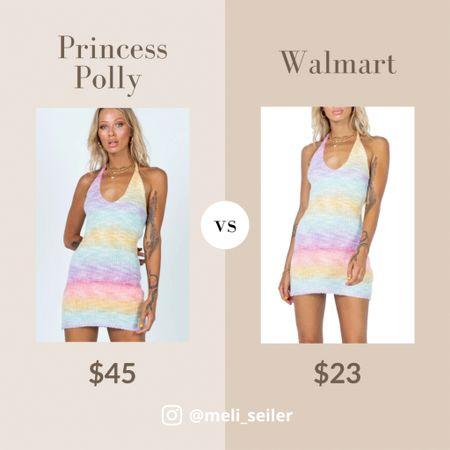 Same dress from Princess Polly (BLAIR MINI DRESS RAINBOW ) is on Walmart! Half the price too.  #LTKunder100 #LTKsalealert