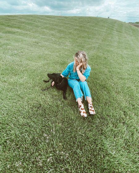 Denim on denim,cow print, and a pup. Happy weekend!! http://liketk.it/2PpgZ @liketoknow.it #liketkit #LTKspring #LTKstyletip #LTKshoecrush