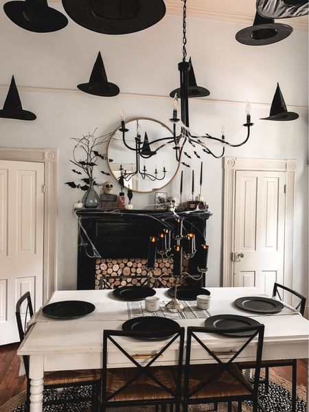Halloween decor diy spooky hanging witch hats