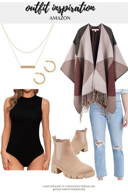 Casual fall outfit from Amazon #Midsize #BoyfriendJeans #ChelseaBoots #BodySuits #GoldJewelry #Amazonfinds #AmazonFashion  #LTKsalealert #LTKcurves #LTKSeasonal