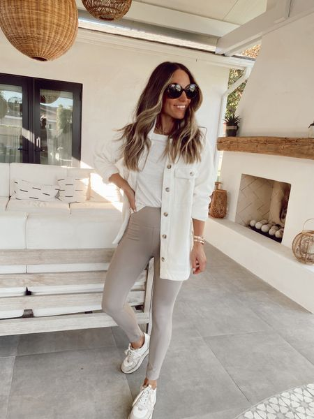 White shirt jacket (shacket) comes in 3 colors, wearing my regular size  Tan leggings (have an interior pocket with a key)  Trainer sneakers  All 20-25% off   #LTKsalealert #LTKunder100 #LTKstyletip