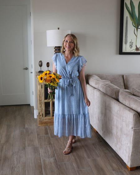 Ruffle sleeve dress Amazon dress Sized up to medium Workwear dress Summer dress Travel sandals  http://liketk.it/3jpBp #liketkit @liketoknow.it #LTKstyletip #LTKunder50 #LTKsalealert
