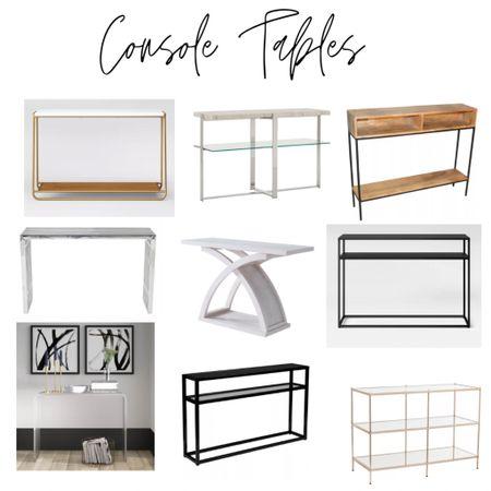 Modern console tables. Wood, chrome, black, gold, marble, glass, acrylic accent tables.   #LTKstyletip #LTKhome #LTKsalealert
